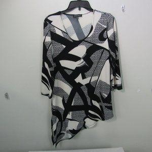 💕Slinky Brand Women's Small black & White top